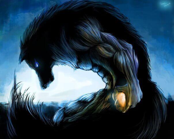 Оборотень, волк, рисунок.
