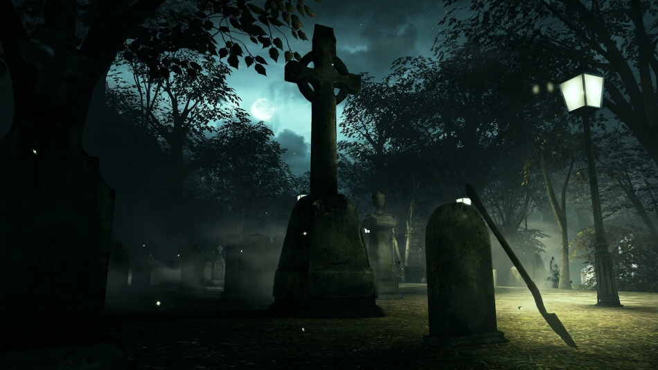 Призраки на кладбище.