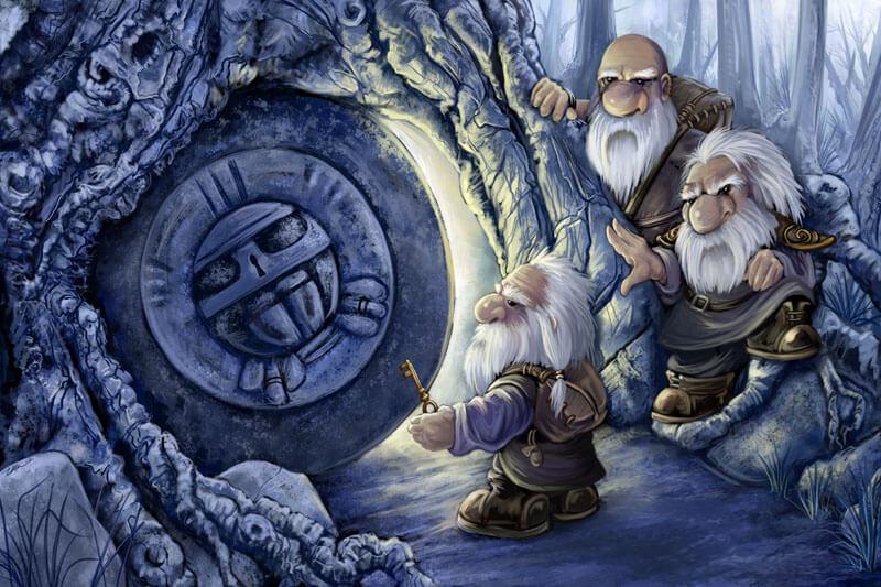 3 гнома открывают подземелье