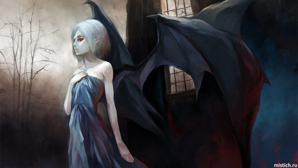 Девушка вампир с крыльями красивая